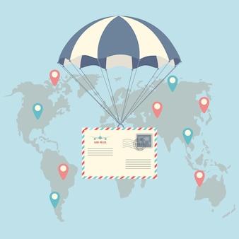 Paraquedas com envelope de correio aéreo, carta. conceito de serviço de entrega. transporte aéreo. correio aéreo, cartão postal em segundo plano.