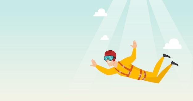 Paraquedista caucasiana pulando com um pára-quedas