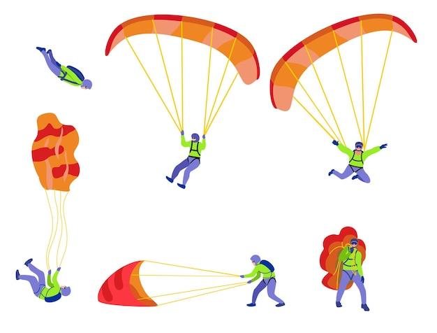 Paraquedistas voando com pára-quedas conceito extremo de paraquedismo e pára-quedismo