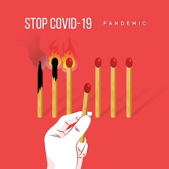 Parar o conceito de correspondência de coronavírus