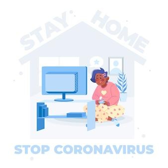 Parar o conceito de ilustração de coronavírus