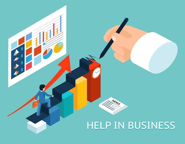 Parceiro de ajuda do mentor de negócios. 3d isométrico. parceria e crescimento, gráfico de aconselhamento