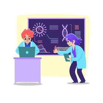 Parceiros científicos trabalhando juntos em laboratório