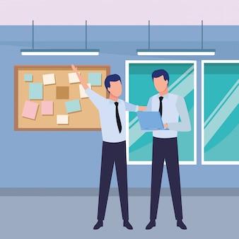 Parceiros de empresários com documentos
