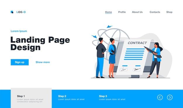 Parceiros de negócios assinando contrato on-line na página de destino em estilo simples