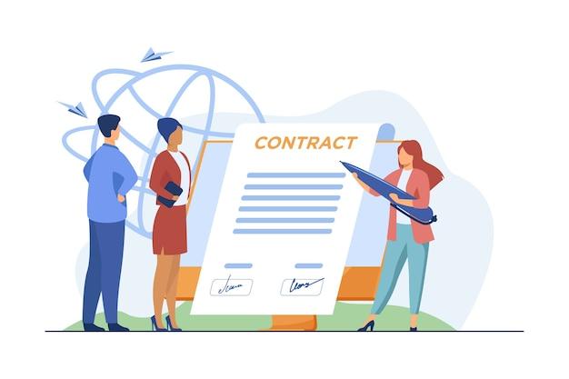 Parceiros de negócios assinando contrato online. líderes afixando assinaturas para documentar na ilustração vetorial plana de monitor. internet, acordo