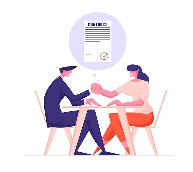 Parceiros de negócios: homem e mulher sentados à mesa, aperto de mão após assinatura do contrato