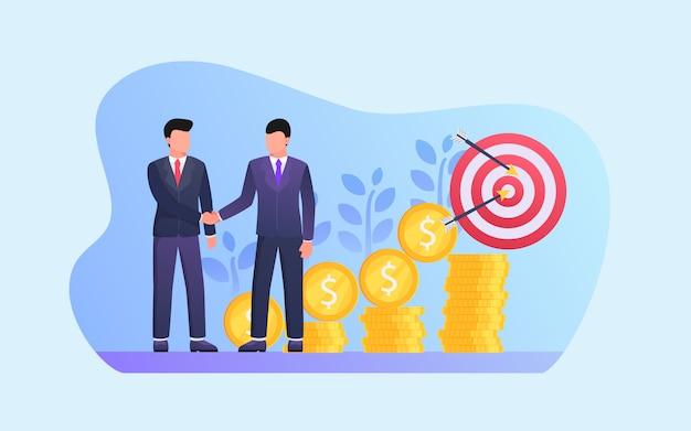 Parceiros de negócios para investimento a longo prazo com moedas de ouro e crescimento de dinheiro