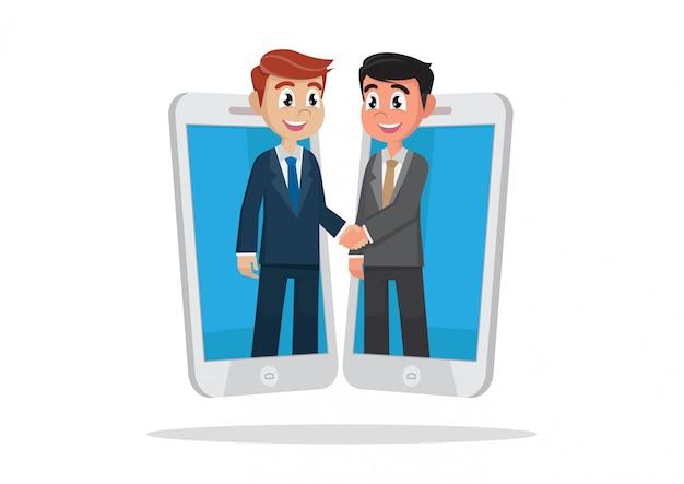 Parceiros de negócios saem de smartphones e handshake.
