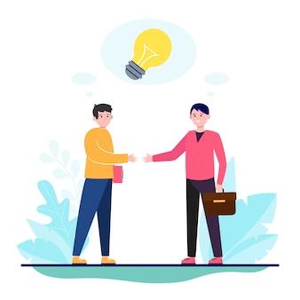Parceiros de startups apertando as mãos