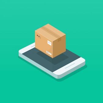 Parcele a caixa do pacote na ilustração do telefone móvel ou celular