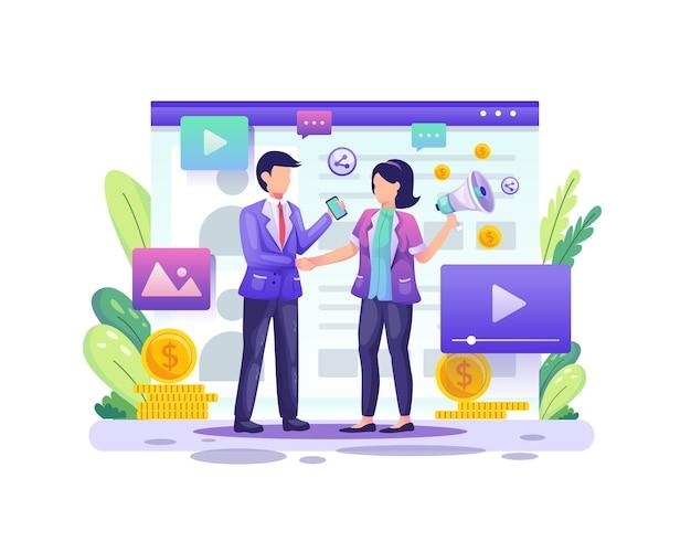 Parceria de negócios com dois empresários concordam com o programa de referência e afiliados