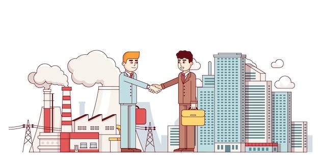 Parceria de negócios e cidades de produção