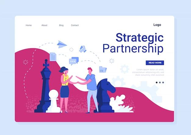 Parceria estratégica em negócios flat banner