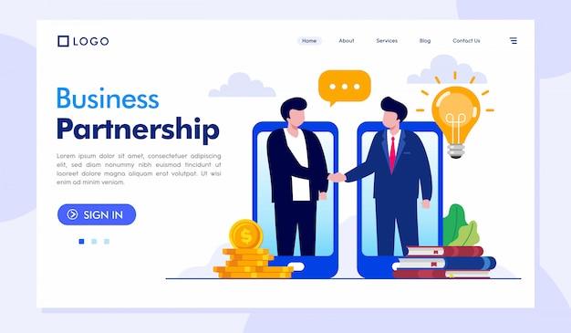 Parceria negócios página inicial site ilustração vetor modelo