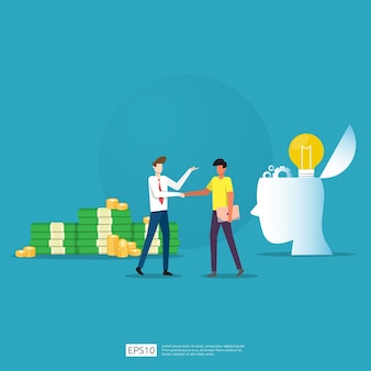 Parcerias de negócios e acordos para alcançar o sucesso no trabalho em equipe e no projeto de conceito de lucro. investimento do empresário na inicialização de tecnologia, fazendo apertos de mão. ilustração plana