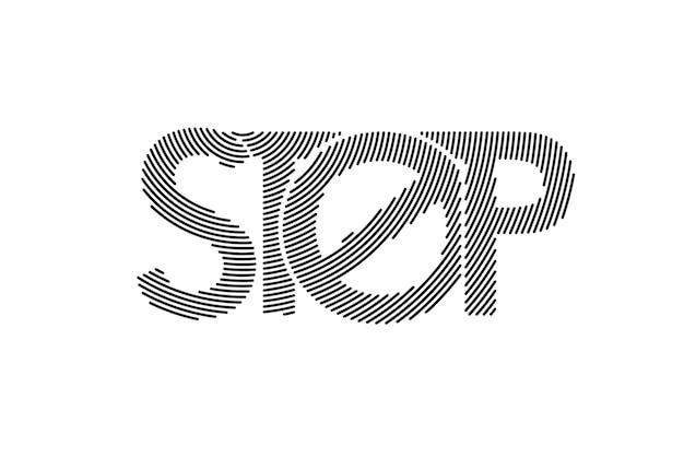 Pare a arte de linha caligráfica texto comercial cartaz ilustração vetorial design.