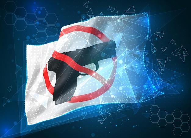 Pare a bandeira do vetor de guerra, objeto virtual 3d abstrato de polígonos triangulares em um fundo azul