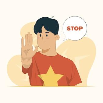 Pare a expressão de aviso da palma da mão conceito de gesto sério negativo