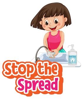 Pare a fonte spread com uma garota lavando as mãos com sabonete isolado no fundo branco