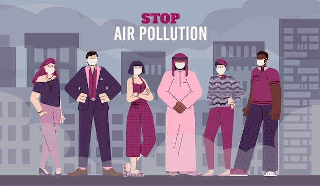 Pare de banner de poluição do ar com pessoas de desenhos animados usando máscaras faciais