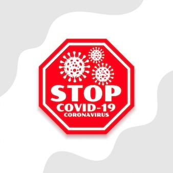 Pare de coronavírus covid-19 espalhar símbolo projeto fundo