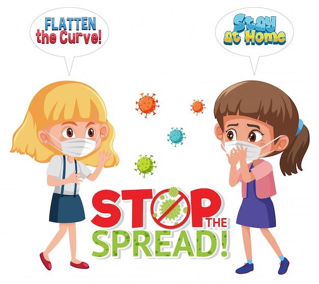 Pare de espalhar o coronavírus com a garota usando máscara