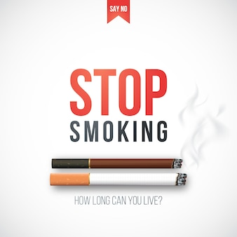 Pare de fumar banner com cigarros 3d realistas