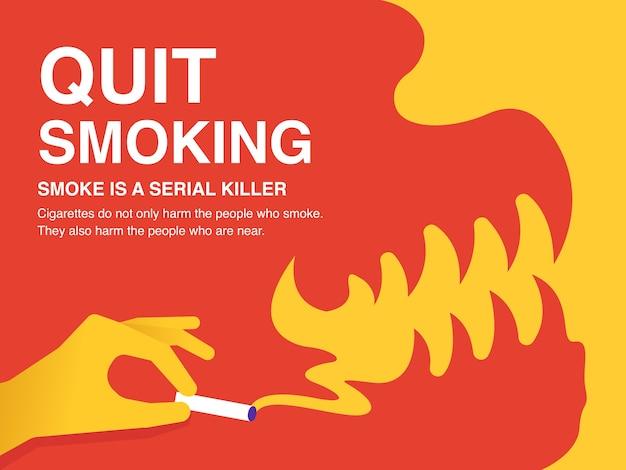 Pare de fumar cartaz de ilustração.