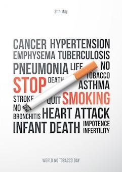Pare de fumar cartaz motivacional.