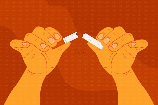 Pare de fumar cigarro quebrado conceito