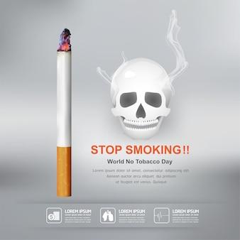 Pare de fumar o conceito de dia mundial sem tabaco.