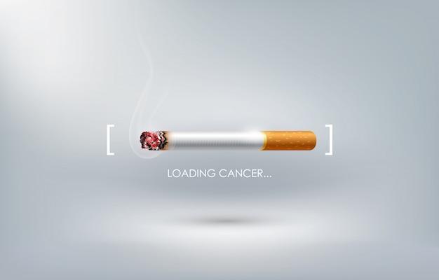 Pare de fumar propaganda de conceito, cigarro queimando como barra de carregamento de câncer, dia mundial sem tabaco,
