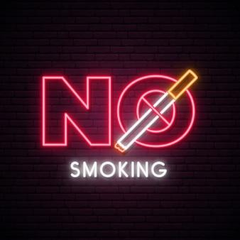 Pare de fumar sinal de néon.