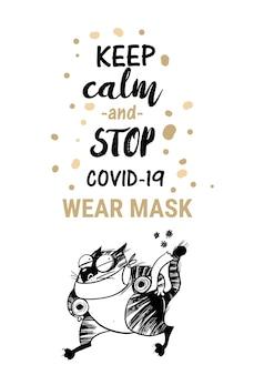 Pare de ilustração de gato coronavirus.funny.