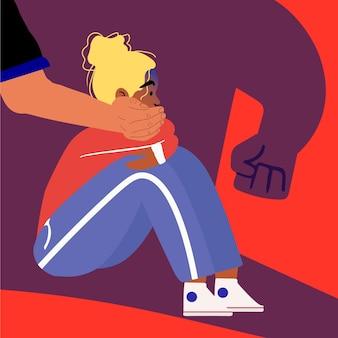 Pare de ilustração de violência de gênero com mulher