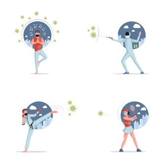 Pare de ilustração plana covid-19. pessoas brigando com coronavírus e vivendo em auto-isolamento.