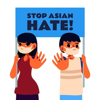 Pare de ilustração plana de ódio asiático