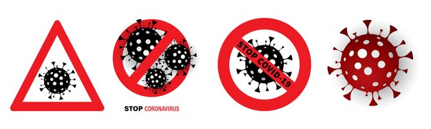 Pare de vírus. sinal de parada pandêmica.