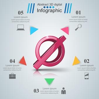 Pare, nenhum ícone realista 3d. infográfico de negócios.