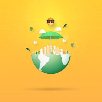 Pare o aquecimento global, salvar o estilo de arte de papel de conceito de terra
