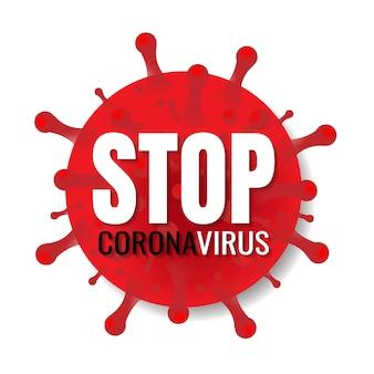 Pare o banner de coronavírus com texto em fundo branco