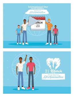 Pare o cartão do dia internacional do racismo com homens inter-raciais e ilustração do calendário
