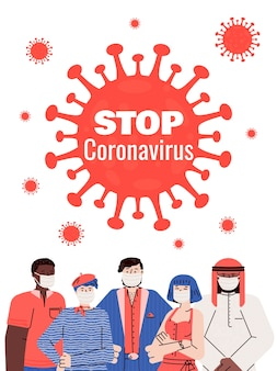Pare o cartaz de coronavírus com pessoas mascaradas.