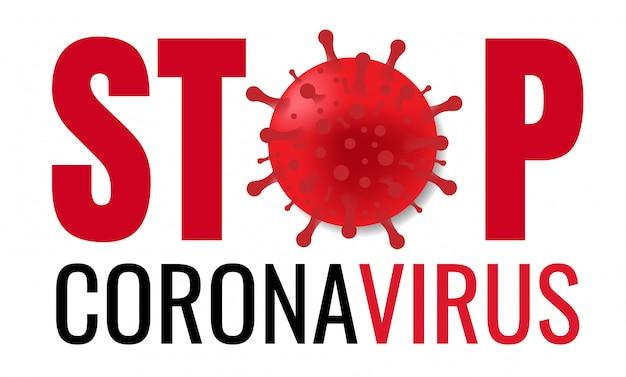 Pare o cartaz de coronavirus com texto