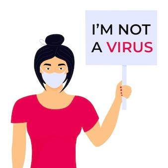 Pare o cartaz de ódio asiático. crime de racismo. mulher chinesa segura banner com o texto não sou um vírus.