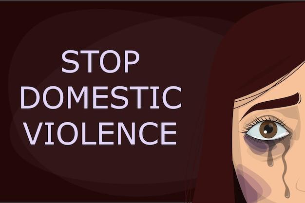 Pare o cartaz de violência doméstica. abuso e agressão na família, mulher chorando