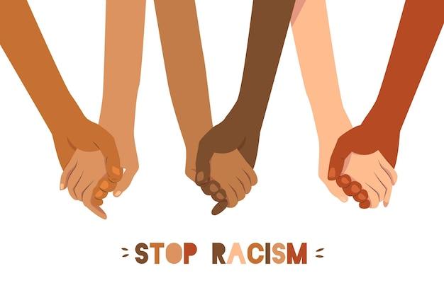 Pare o conceito de racismo ilustrado com pessoas de mãos dadas