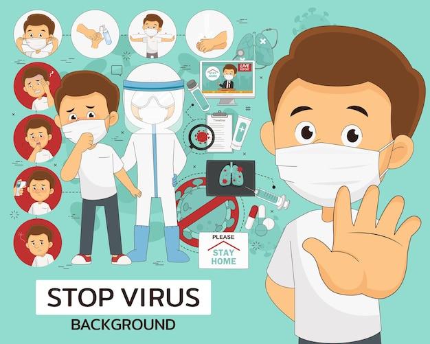 Pare o conceito de vírus. ícones planos.