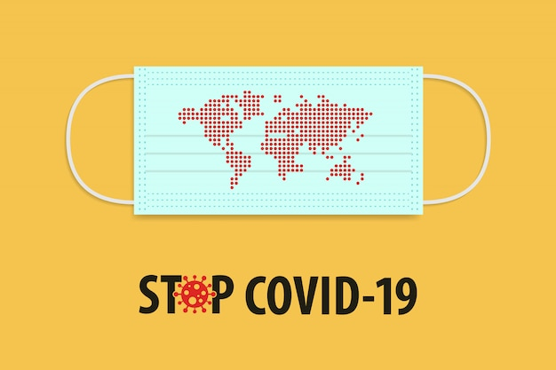 Pare o conceito do covid-19 coronavirus. máscara médica com ponto vermelho informar o mapa do mundo.
